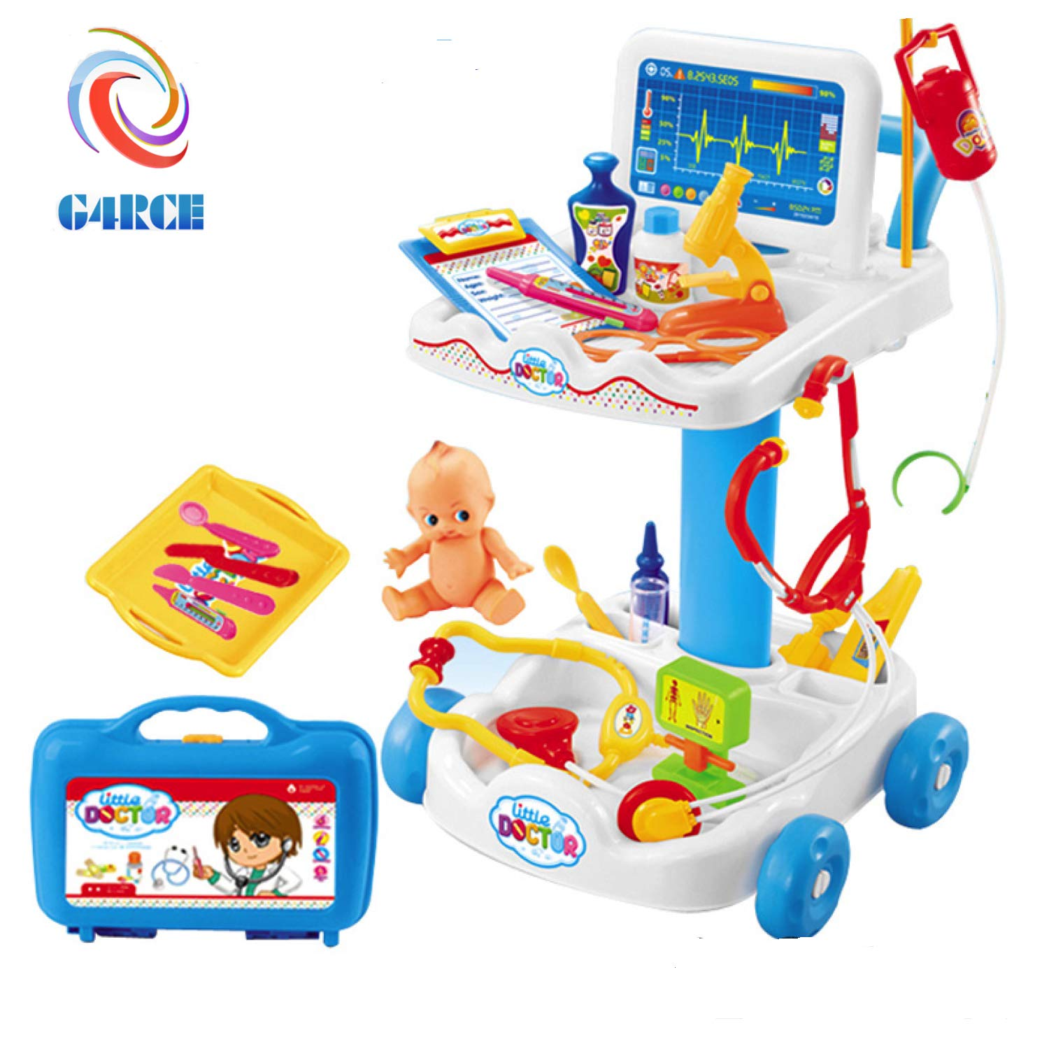 G4RCE® Kids Education Role Play Doctor Nurses Toy Medical Set Kit Hard Carry Case + 36pcs Accessory Kit Play Best For BIrthday