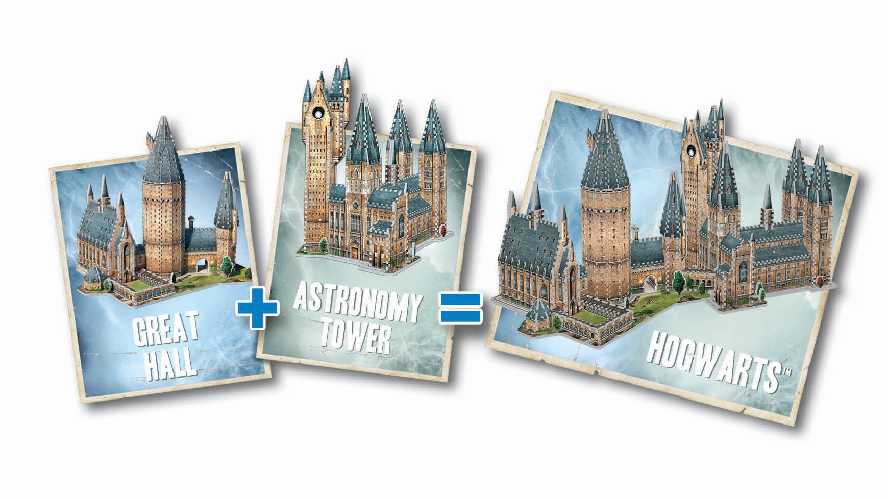 Wrebbit 3D - Harry Potter Hogwarts Castle 3D Jigsaw Puzzle, Great Hall and Astronomy Tower - Bundle of 2 - Total of 1725 Pieces by WREBBIT 3D