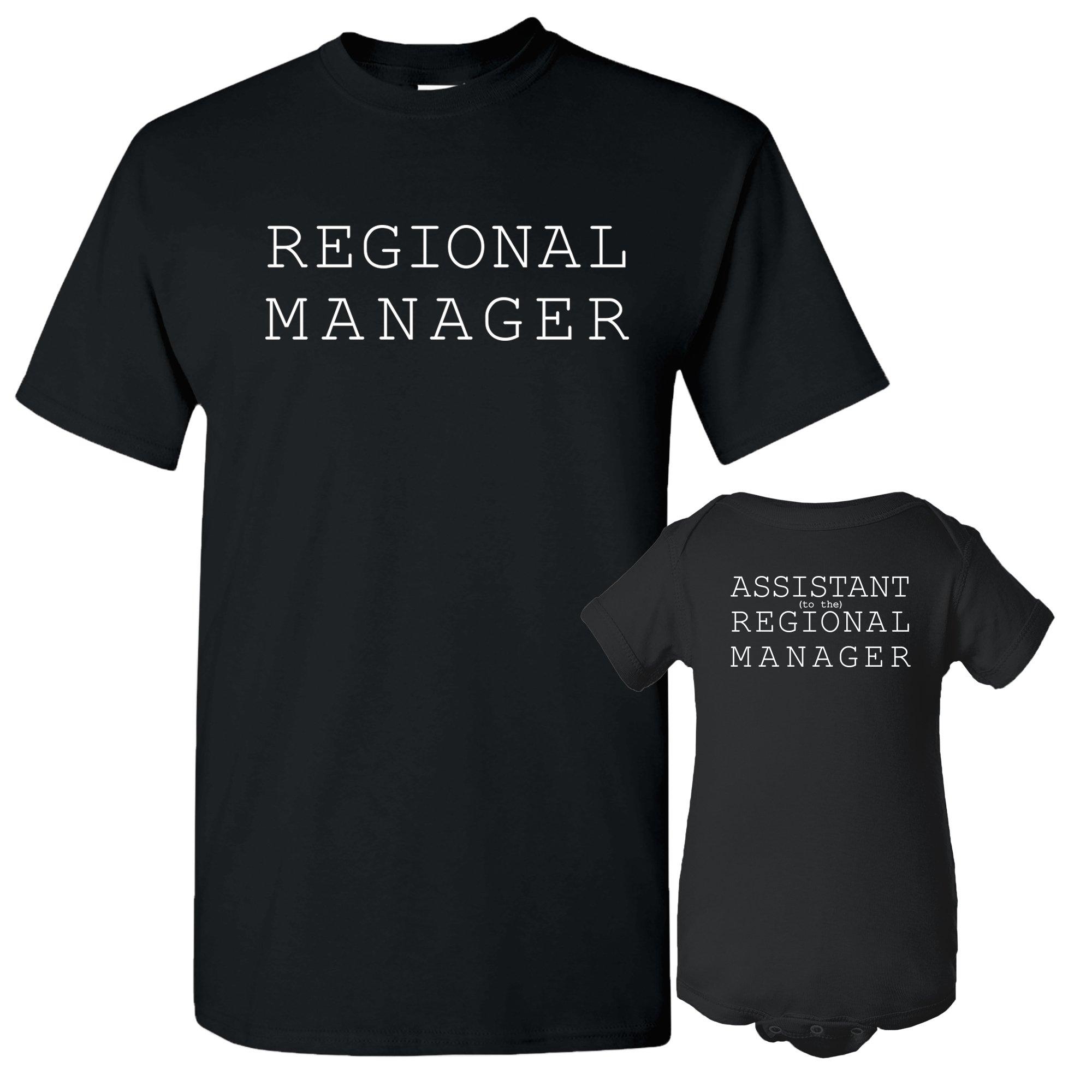 UGP Campus Apparel Regional Manager, Assistant Regional Manager - Funny Office Adult T Shirt & Infant Onesie Bundle - Black - Adult XL/Newborn