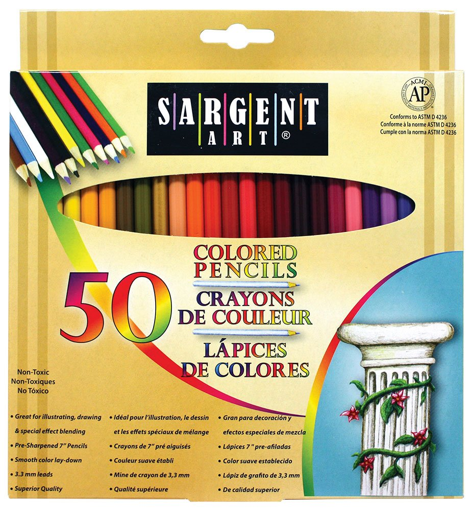 Art colored pencils - Amazon Com Sargent Art Premium Coloring Pencils Pack Of 50 Assorted Colors 22 7251