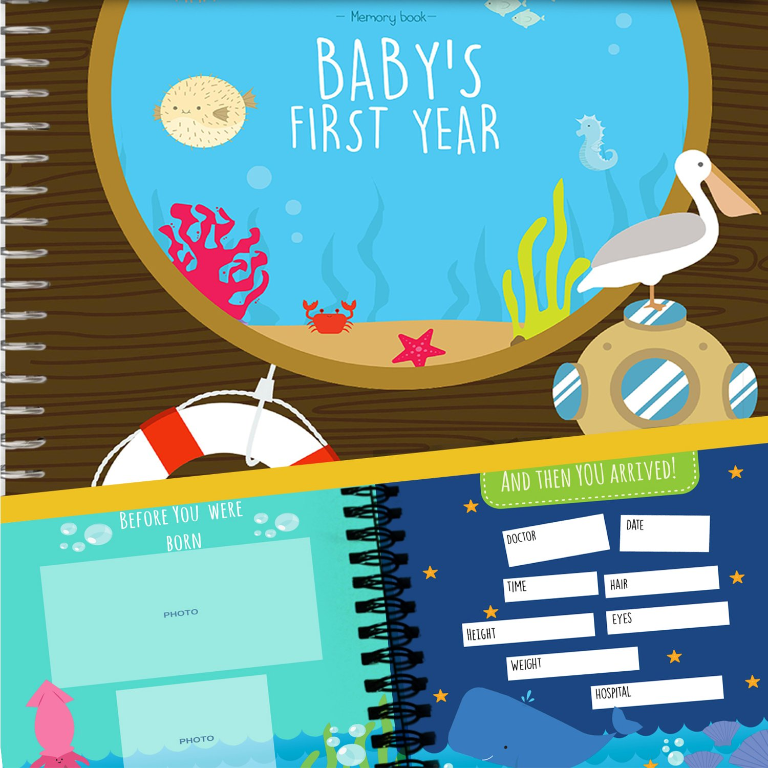 Baby's First Year Memory Book With 12 Milestone Stickers, Under The Sea Edition by Unconditional Rosie   B01HDDYX0O