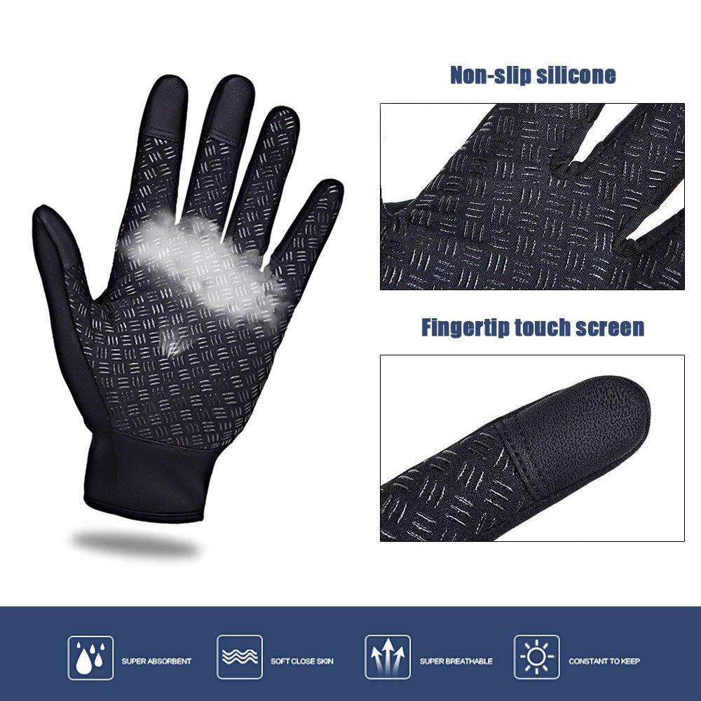Cycling Gloves, Waterproof Touchscreen in Winter Outdoor Gel Bike Gloves