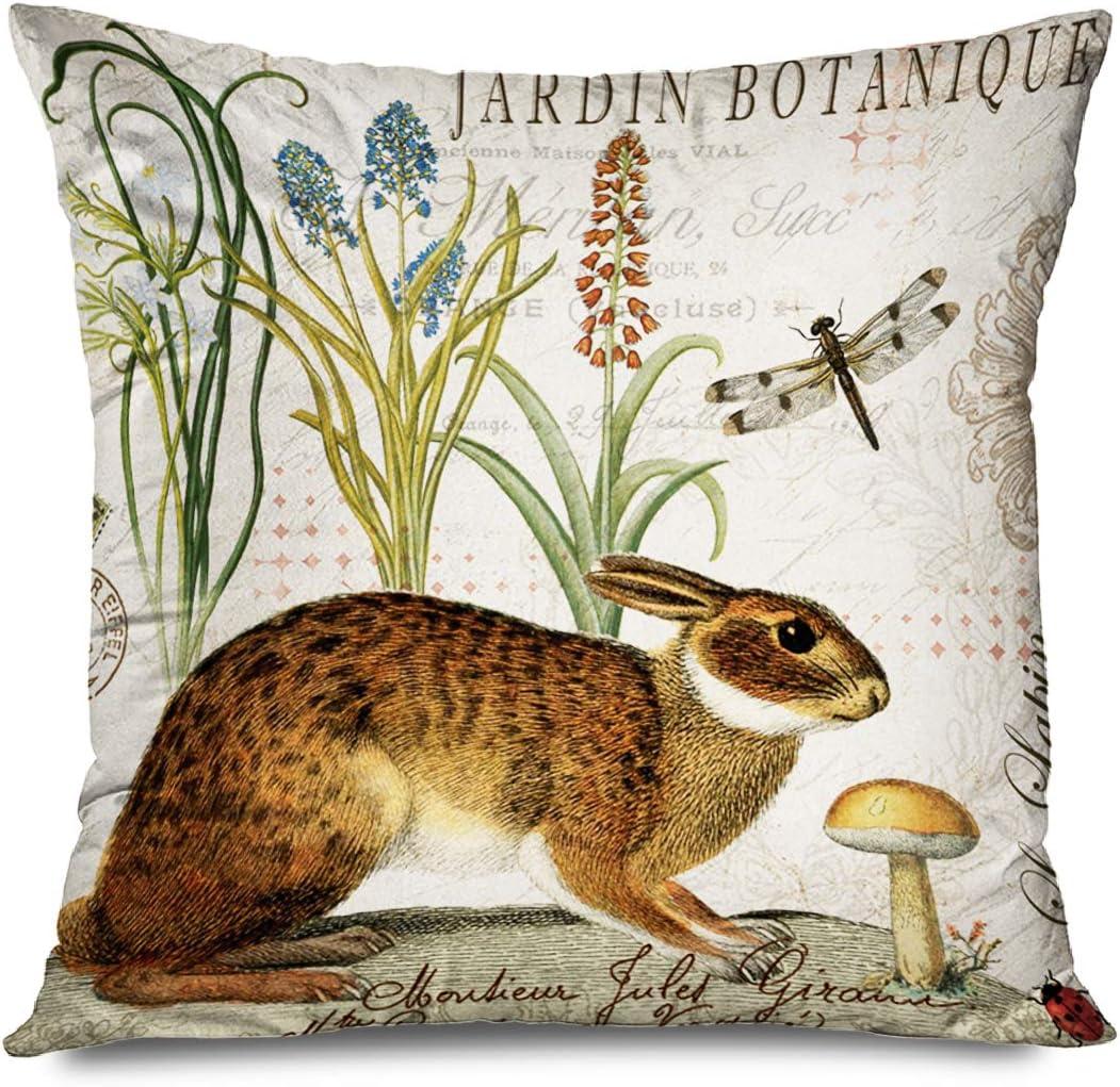 Amazon Com Fareyy Rustic Pillowcase Vintage Adorable Animals Rabbit Jardin Botanique Decorative Throw Pillows Cushion Cover For Bedroom Sofa Living Room 16 X 16 Inches Home Kitchen