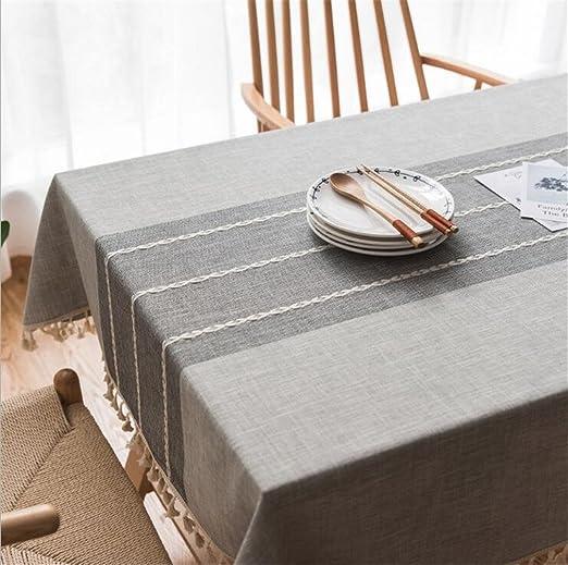 MIRUIKE Mantel de Estilo Vintage, Tela de Lino y Algodón, Decoración para Mesa de Comedor, D, 55×71 Inch(140*180CM): Amazon.es: Hogar