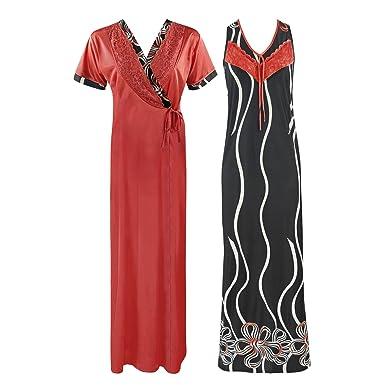 0de33ef94f WOMENS NIGHTIE NIGHTY LADIES DESIGNER 2PC NIGHTWEAR ROBE SATIN NIGHTDRESS-Black-One  Size