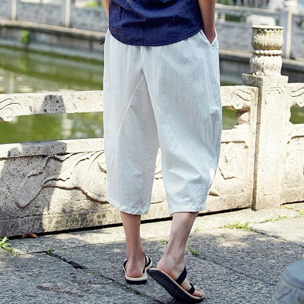 Casual Fashion Loose Soft Slim Fit Outdoors Sports Baggy Cropped Trousers White,US Size L = Tag XL WUAI Mens Harem Pants