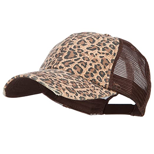 a0b90c936e8 Low Profile Canvas Leopard Print Mesh Trucker Cap (Various Colors ...