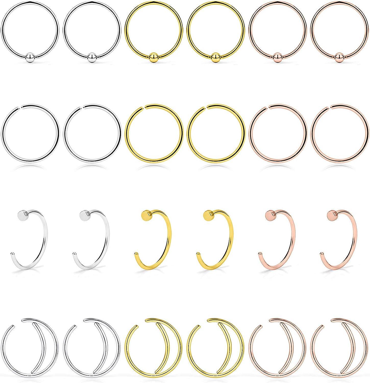 Silver Stainless Steel 22G Nose Lip Ear Hoop Ring US SELLER /& SAME DAY SHIP