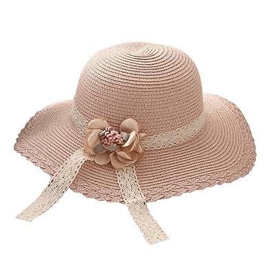99bc051f587 Cupcinu Children Girls  Kids Straw Hats Summer Sun Beach Hats Lace Flowers  Wide Brim Foldable