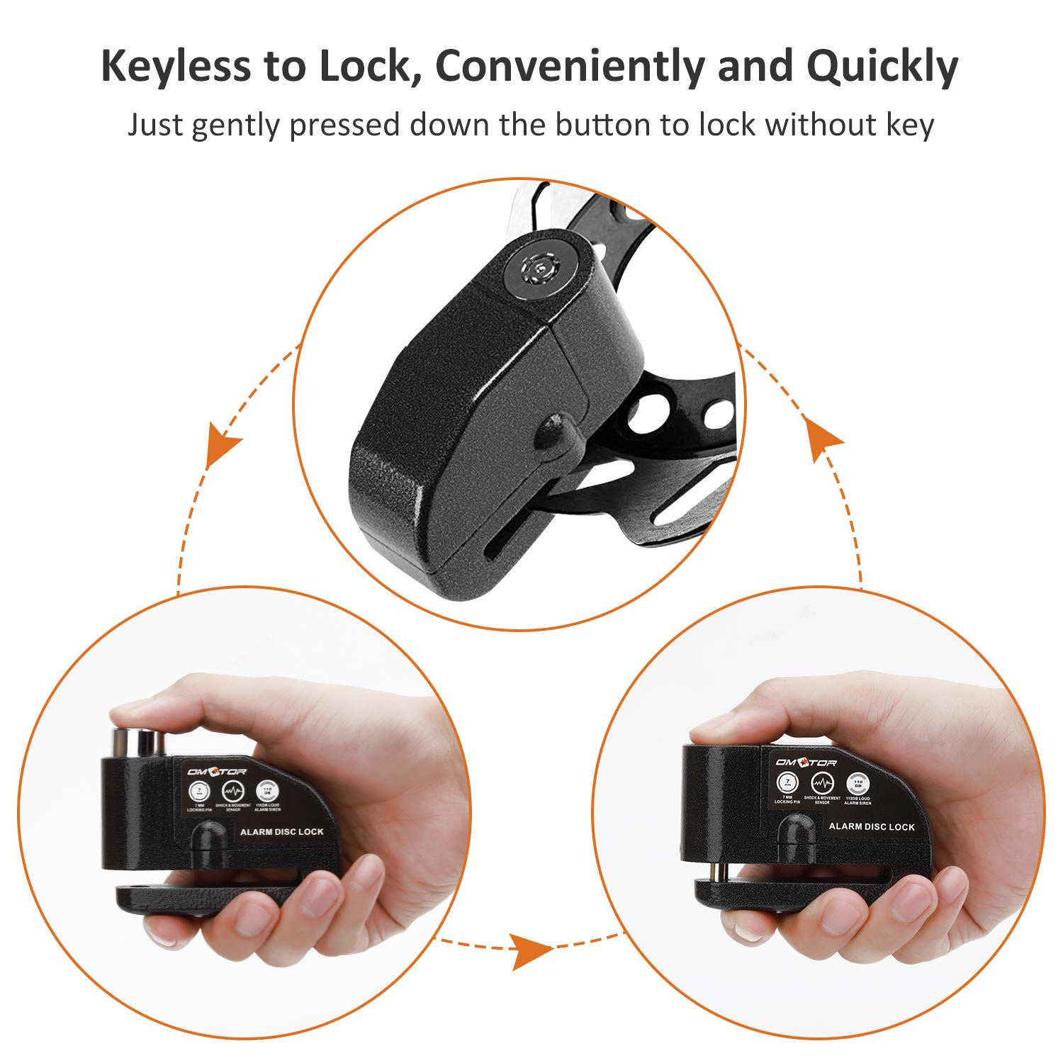 Omotor Disc Lock Alarm Motorcycle Alarm Padlock with 110db Alarm Sound for Motorcycles Bicycles