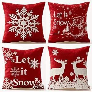 Andreannie Set of 4 Red Merry Snowflakes Happy Winter Let It Snow Red Cotton Linen Throw Pillow Case Personalized Cushion Cover Home Decorative Square 18 Inches