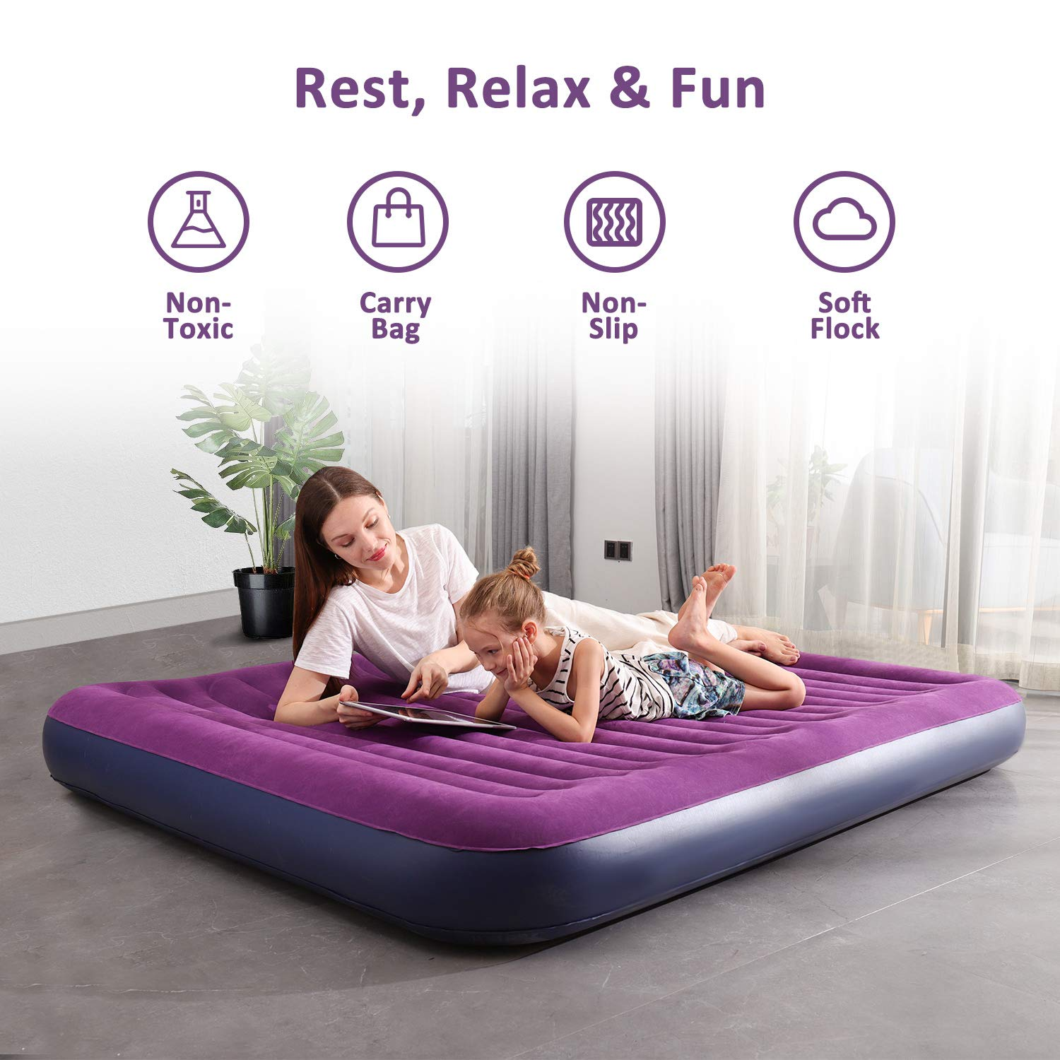 OlarHike Queen Air Mattress, Inflatable Single High Airbed for Guests, Blow up Raised Air Bed for Camping with Electric Air Battery Pump, Purple by OlarHike (Image #3)