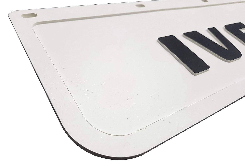 Guardabarros de goma resistente 60 x 18 cm color blanco con remolque cami/ón 2 unidades cami/ón