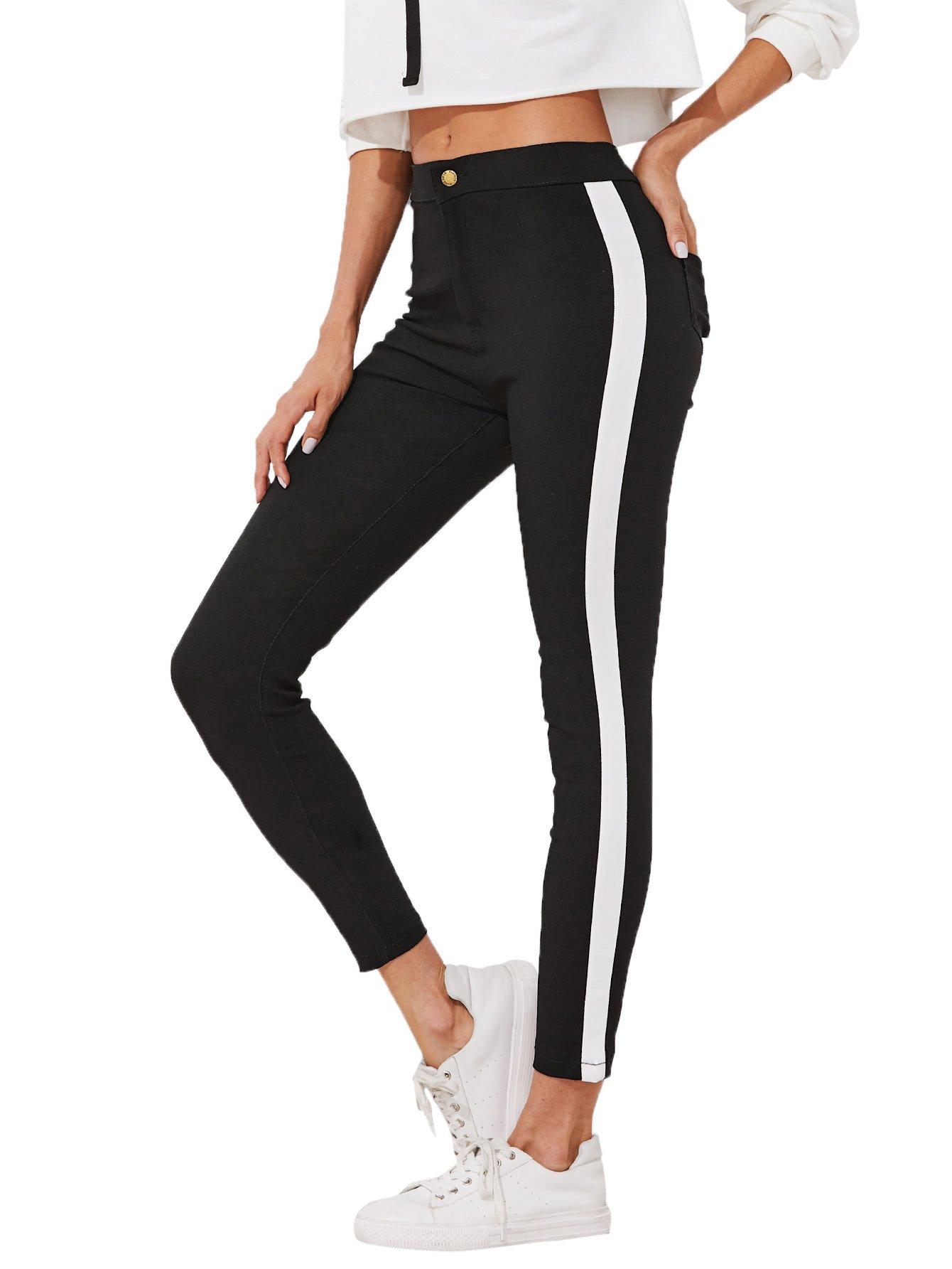 Romwe Women's Slim Mid Waist Zipper Fly Long Straight Pants Striped Side Panel Skinny Ankle Jeans Black S