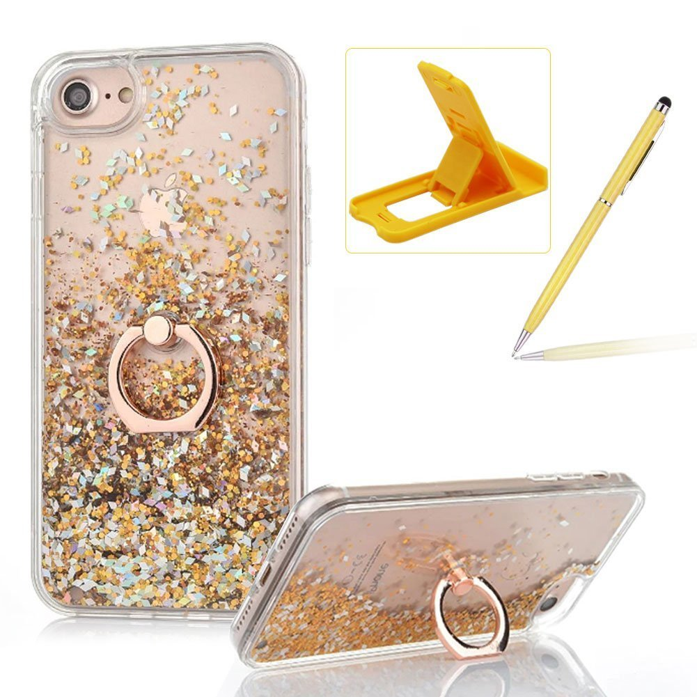 Hard Case for iPhone 7 Plus, Plastic Glitter Case for iPhone 7 Plus, Herzzer Luxury 3D Creative Design Silver Liquid Quicksand Sparkly Crystal Clear Protective Skin Back Case with 360 Degree Ring Holder for iPhone 7 Plus 5.5 inch + 1 x Free White Cellphone