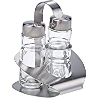 Harmony 83113 Salt, Pepper And Toothpick Bottles With Metal Stand Set - 2 Pieces,Clear