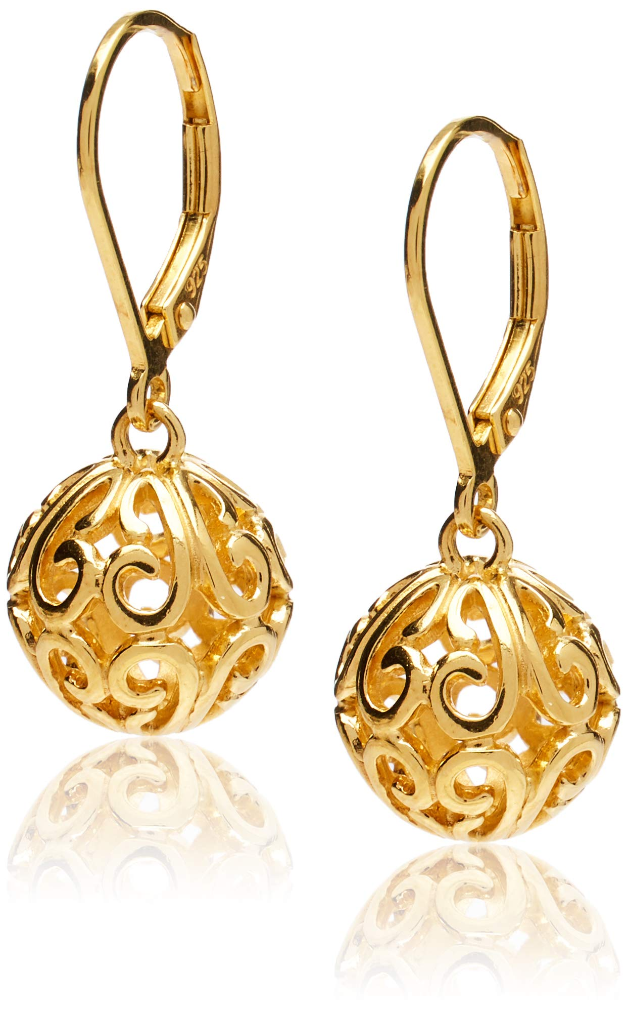 18k Yellow Gold Plated Sterling Silver Filigree Ball Leverback Dangle Earrings by Amazon Collection