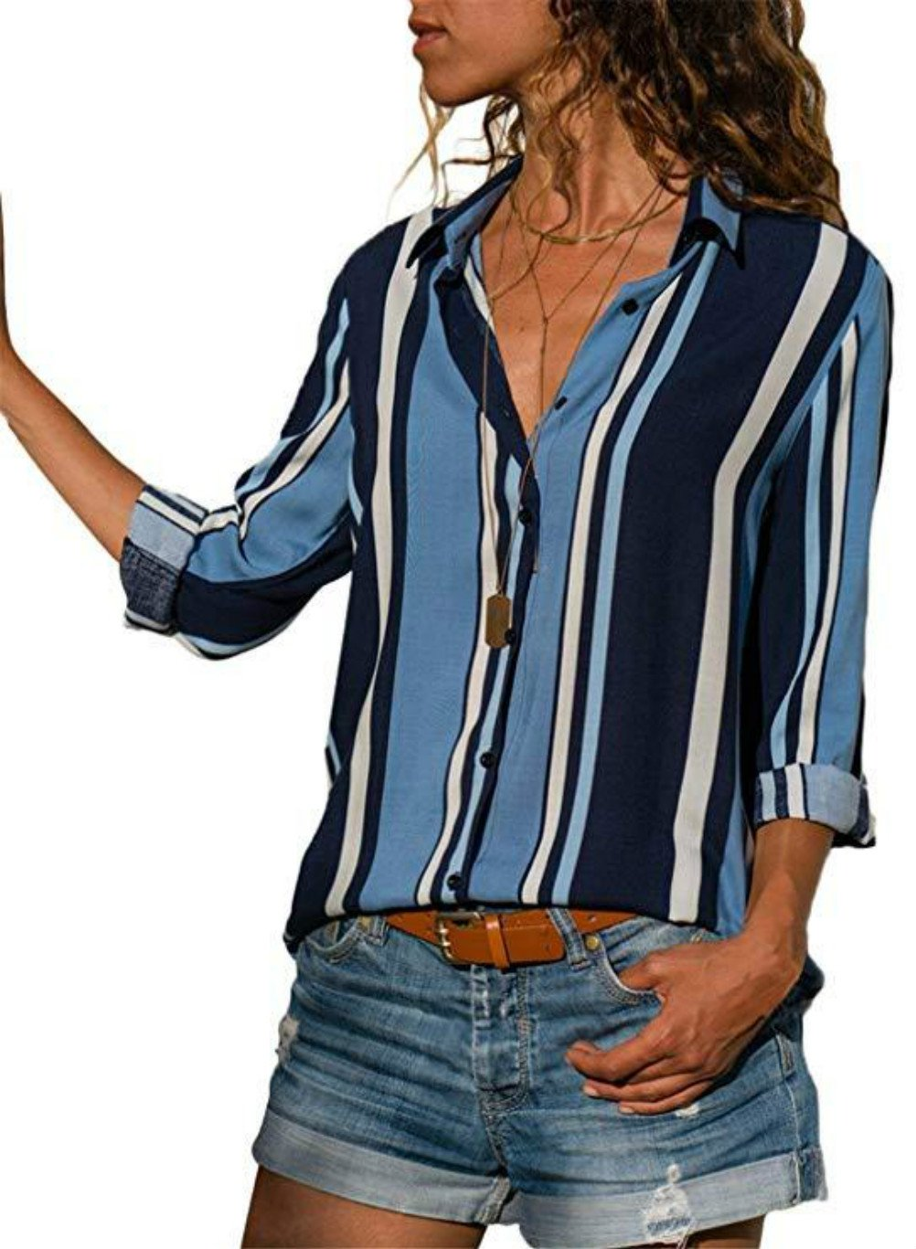 HUUSA Fashion Elegant Blouses for Women Long Sleeve Striped Shirt V Neck Button-up Tops X-Large