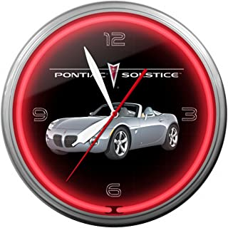 """product image for Pontiac Solstice Silver Neon Wall Clock 20"""" Made In USA, 110V Electric, Aluminum Spun Case, Powder Coated Finish, Glass Face, Brass Movement, Pull Chain, 1 Year Warranty"""