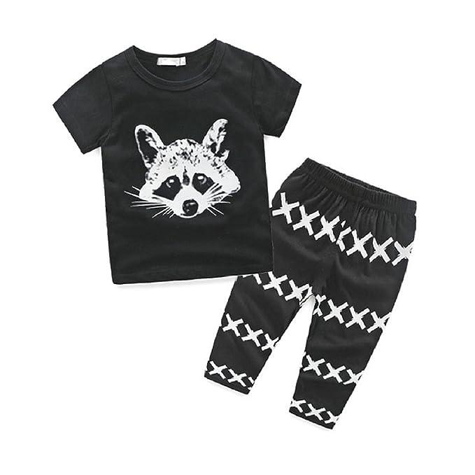 2PCS Newborn Kids Baby Boy Casual Short Sleeve Cartoon Tops Tee+Pants Outfit Set