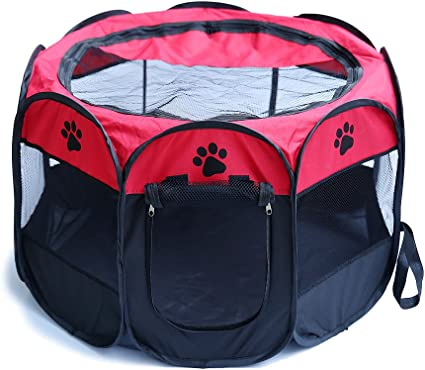 """45/"""" Red Oxford Portable Pet Puppy Soft Tent Playpen Dog Cat Folding Crate"""