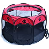 HENREK Pet Dog Cat Playpen Cage Crate - Portable Folding Exercise Kennel - Indoor & Outdoor use
