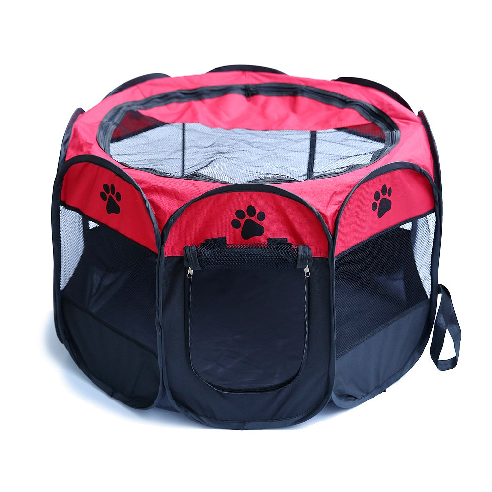 Red L red L wingo Portable Folding Pet Tent Playpen Dog Cat Exercise Fence Kennel Cage Crate (L, red)