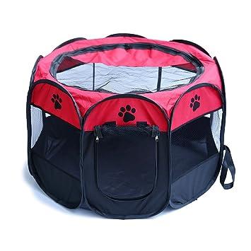 YOUJIA Parque Para Mascotas Cachorros Parque Para Animales Perros Gatos Entrenamiento y Dormitorio (Rojo, S): Amazon.es: Hogar