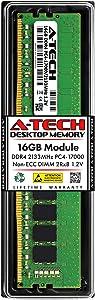A-Tech 16GB DDR4 2133MHz DIMM PC4-17000 UDIMM Non-ECC 2Rx8 1.2V CL15 288-Pin Desktop Computer RAM Memory Upgrade Module