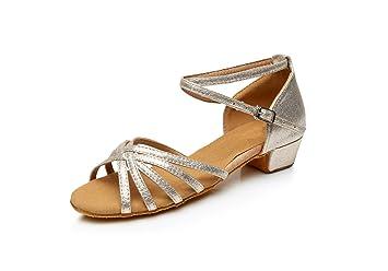 ShangYi Damen Tanzschuhe für Kinder Tanzschuhe für Mädchen Tanzschuhe für Kinder Tanzschuhe für Damen GB Ballroom Schuhe Schuhe, mit einer Höhe von 3,5 cm, Braun, EU37/UK4 BigKids