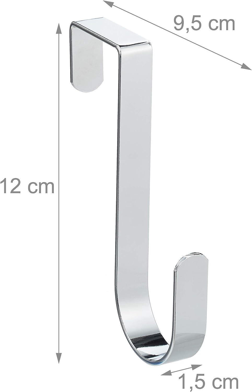 Cocina o Pasillo 12 cm de Largo Plateado Relaxdays Colgador Puerta Pack de 5 Metal Ganchos para Colgar para Ba/ño
