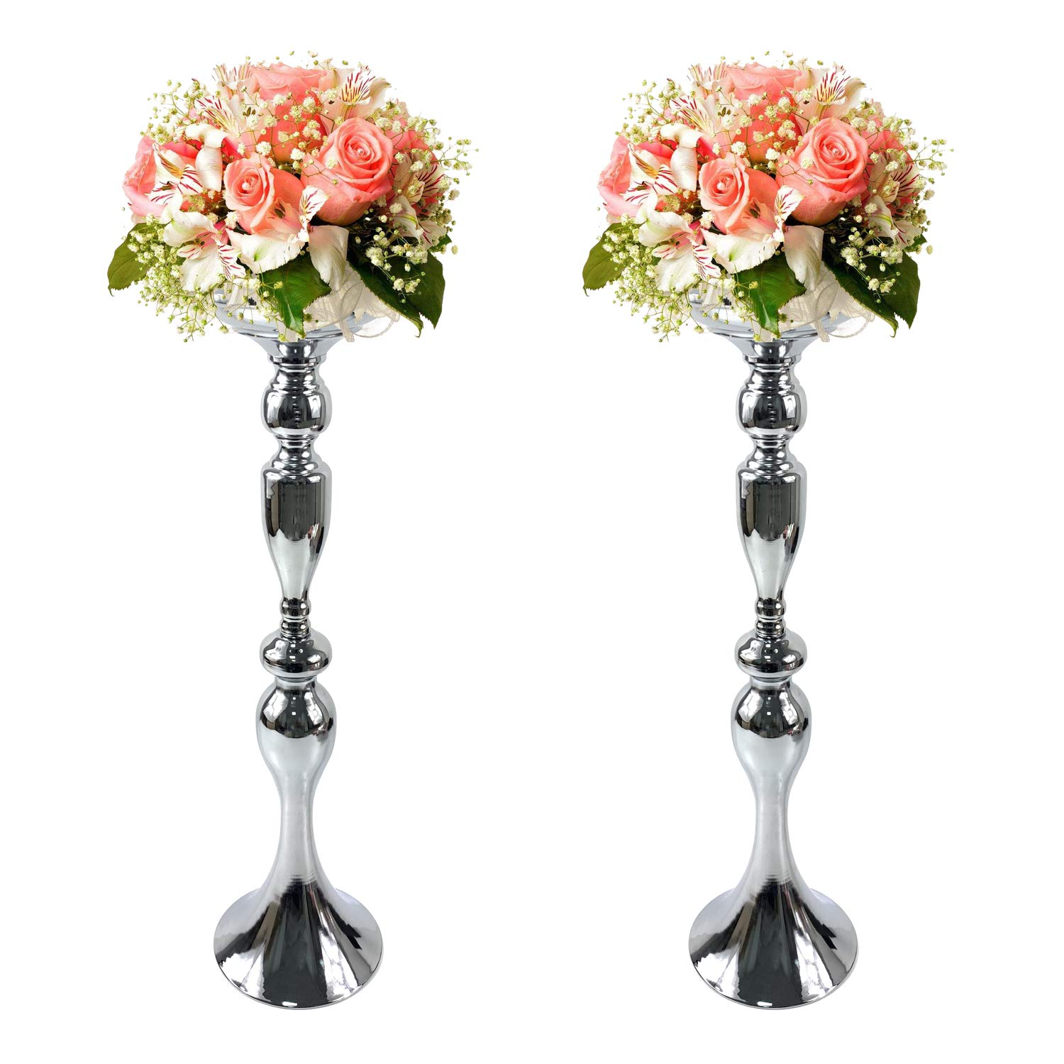 Gold Fortune 2 Pieces 19.5 Inch (50CM) Height Metal Candle Holder Stand Wedding Flower Rack Centerpiece Event (Silver, 19.5'')