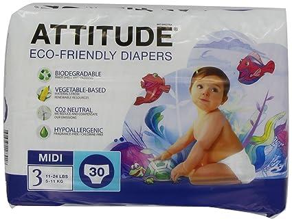 Attitude - Pañales ecológicos, pack de 3 (3x90 unidades)