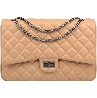 Ainifeel Women s Quilted Oversize Genuine Leather Shoulder Handbag Hobo Bag  Purse 597d06b901181
