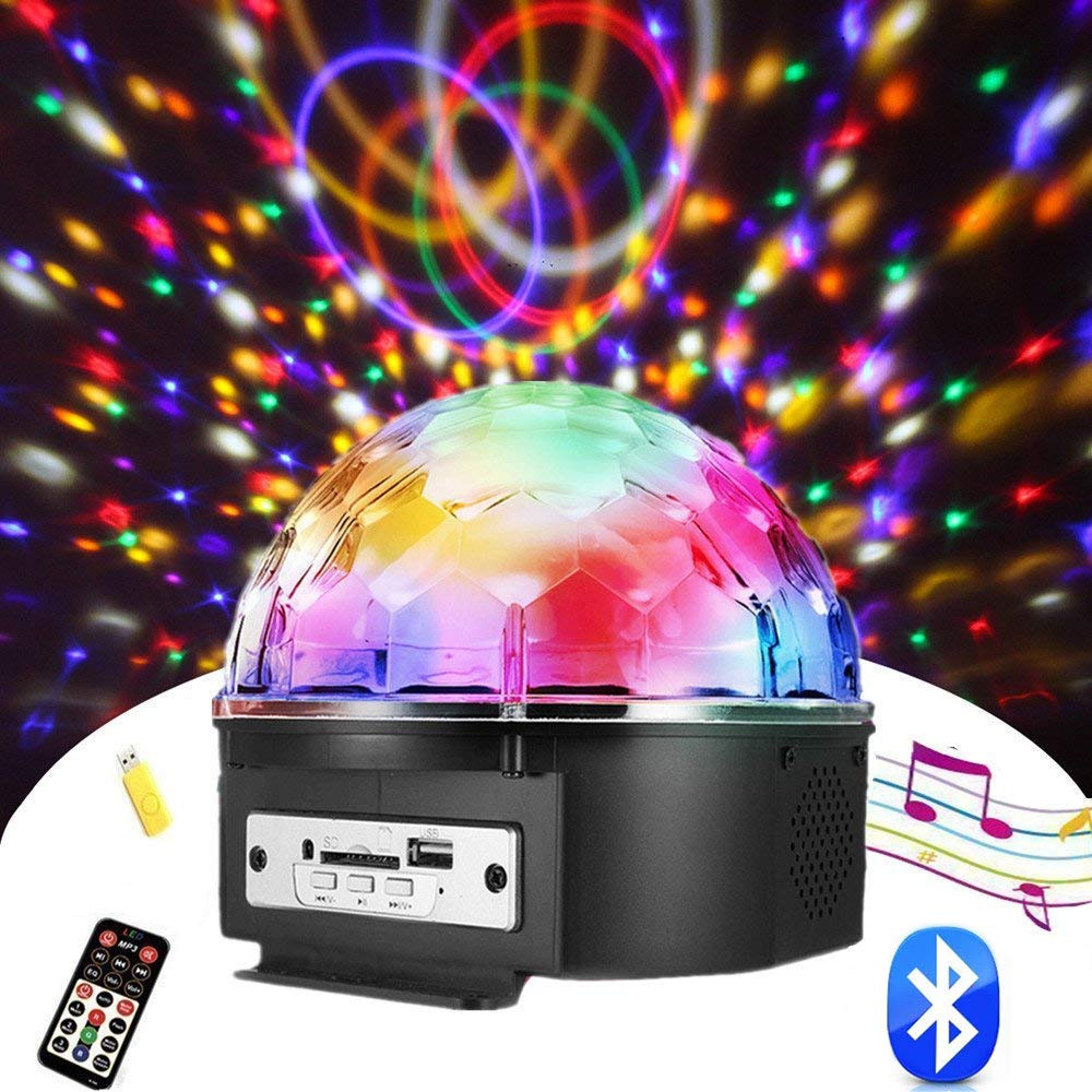 Chnaivy Christmas Party Light 9 Color Bluetooth Speaker Color Change LED Stage Lights Rotating Magic Disco Ball Light with Remote Control MP3 Player and USB for KTV Club Pub Show
