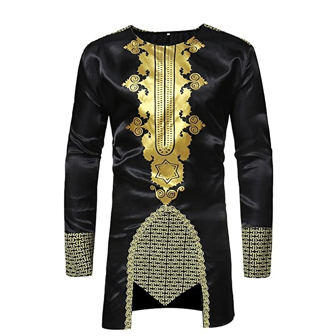 ff18e45abc Shirts For Men, HOT SALE !! Farjing African Dashiki Men's Traditional  National Hot Gold Printed Long-sleeved Shirt at Amazon Men's Clothing store: