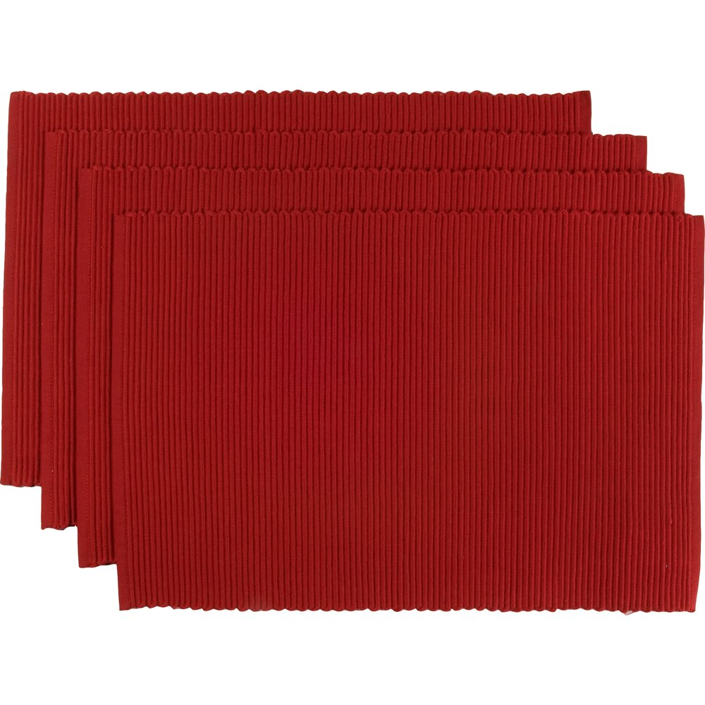 Now Designs Spectrum Basic Cotton Placemats, Set of Four, Chili Red