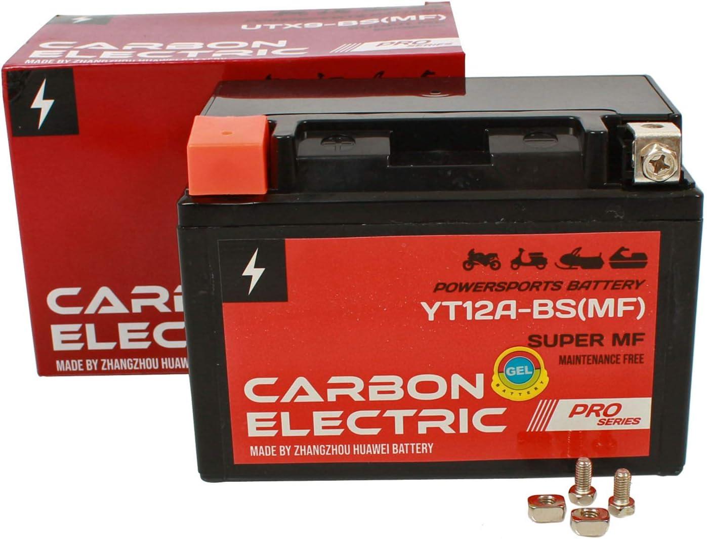 Carbon Electric YT12A-BS MF Gel Batterie 12 V 9.5 Ah Wartungsfrei Versiegelt Motorrad Roller Motorradbatterie Rollerbatterie