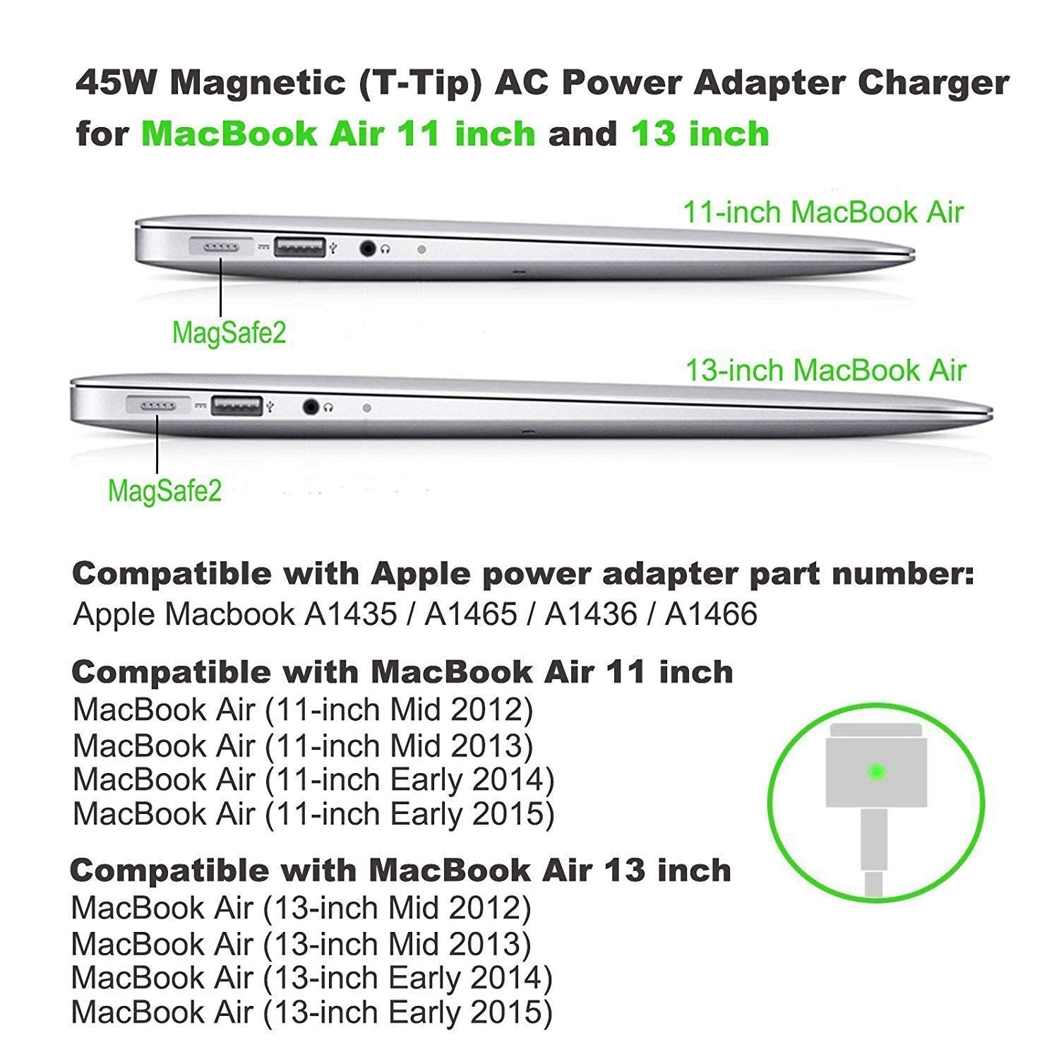 Mac-Book Air Charger 45W Magsafe 2 Power Adapter Magnetic T-Tip Replacement Charger for MacBook Air 11 inch and 13 inch (After Mid 2012) by DODAUG (Image #5)