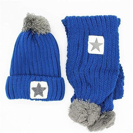 Amazon Com Winter Kids Beanie Hat Scarf Stars Pompom Design 2