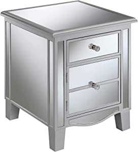 Convenience Concepts 413551SS Gold Coast Park Lane End Table, Silver/Mirror