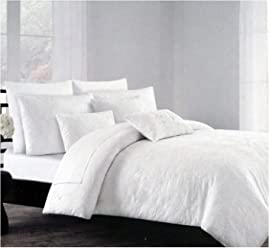 Tahari Duvet Cover Set Bedding 3 Piece Cotton Crisp White Textured Floral Matelasse Pattern (White