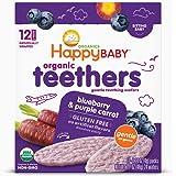 (跨境自营)(包税) Happybaby 禧贝 宝宝有机温和磨牙饼干 蓝莓紫胡萝卜味 48g