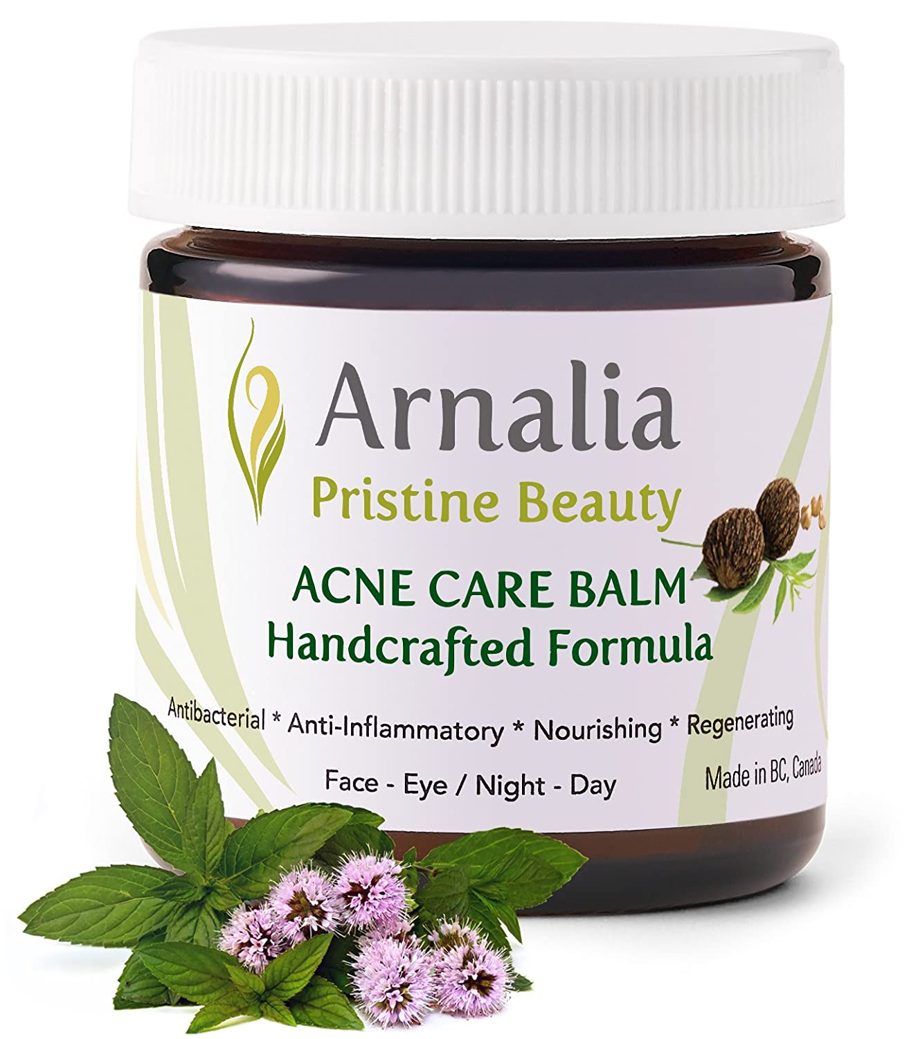 ARNALIA Acne Care Cream - 100% Pure Natural & Organic Wild Grown Herbs, Face & Back Acne Spot Treatment, Cystic & Hormonal Acne, Teen Acne, Cold Sores, Tea Tree Oil Rapid Clear Balancing Cosmetic Balm (0.3oz)