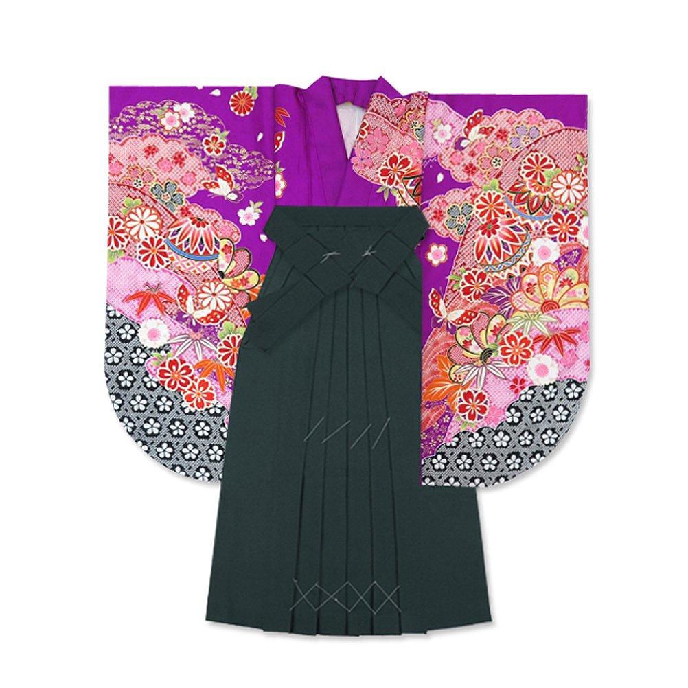 卒業式 袴セット レディース 女性用 古典柄の二尺袖と無地袴セット DENset-DB B06WP5DQGG 紫×鞠と蝶 紫×鞠と蝶