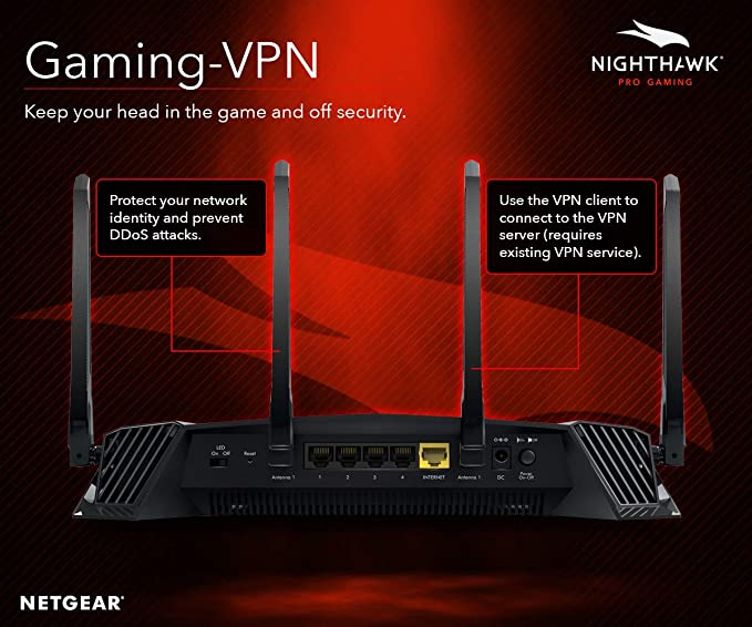 NETGEAR Nighthawk Pro Gaming XR500 Wi-Fi Router with 4 Ethernet Ports and  Wireless speeds up to 2 6 Gbps, AC2600, Optimized for Low ping