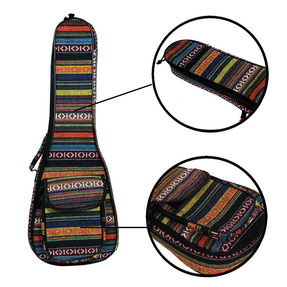 EDTara Ukulele Bag 23 National Style Ukulele Gig Bag Thick Cotton Padded Ukulele Case Cover, Random Color General