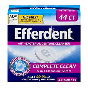 Efferdent Anti-Bacterial Denture Cleanser | 5-in-1 Cleansing System | 44 Tablets