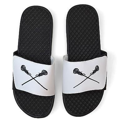 White Girls Lacrosse Slide Sandals - Crossed Sticks