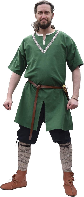 Battle-Merchant - Túnica Medieval para Hombre - con Ribete Bordado y de Manga Corta - para Larp Vikingo
